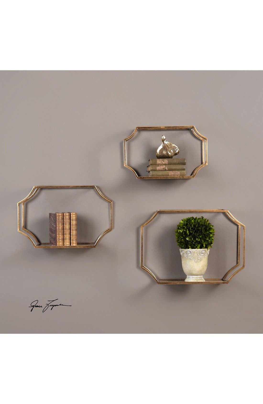 Wall Shelves,                             Alternate thumbnail 3, color,                             Metallic Gold