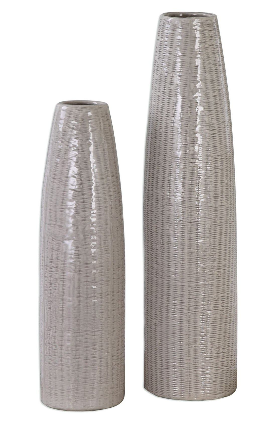 Textured Ceramic Vases,                             Main thumbnail 1, color,                             Ivory