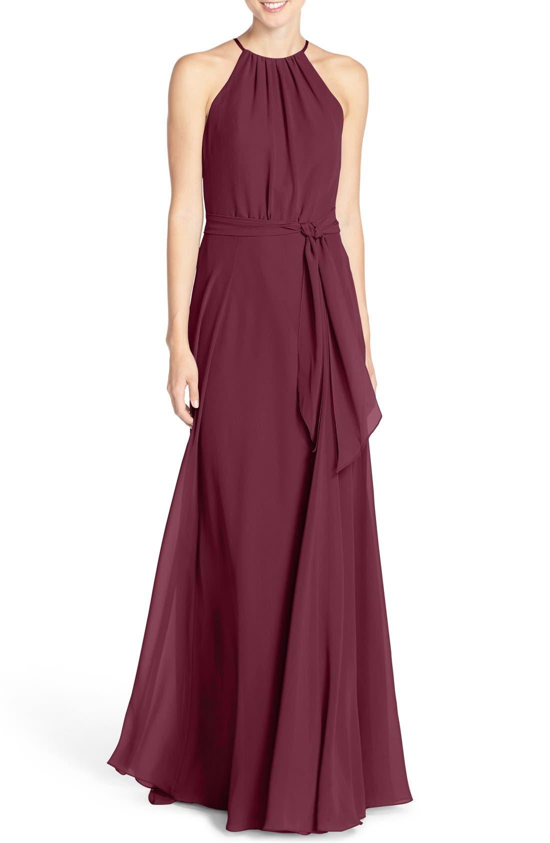 Alternate Image 1 Selected - Amsale 'Delaney' Belted A-Line Chiffon Halter Dress