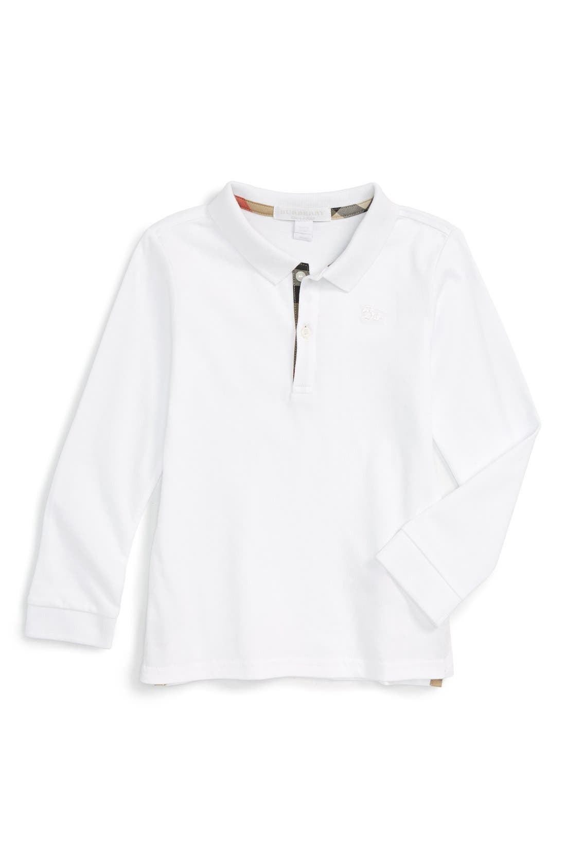 'Palmer' Long Sleeve Polo,                             Main thumbnail 1, color,                             White