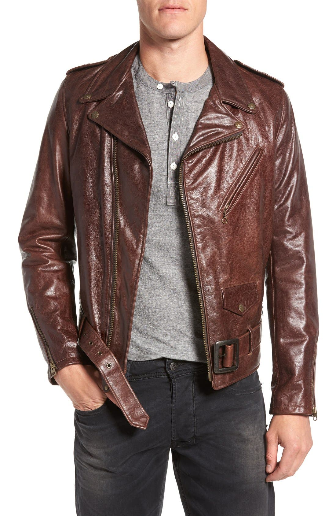 Waxy Cowhide Leather Motorcycle Jacket,                             Main thumbnail 1, color,                             Brown