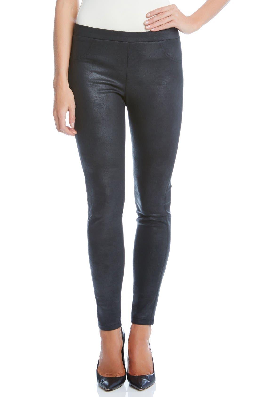 Main Image - Karen Kane Stretch Faux Leather Skinny Pants