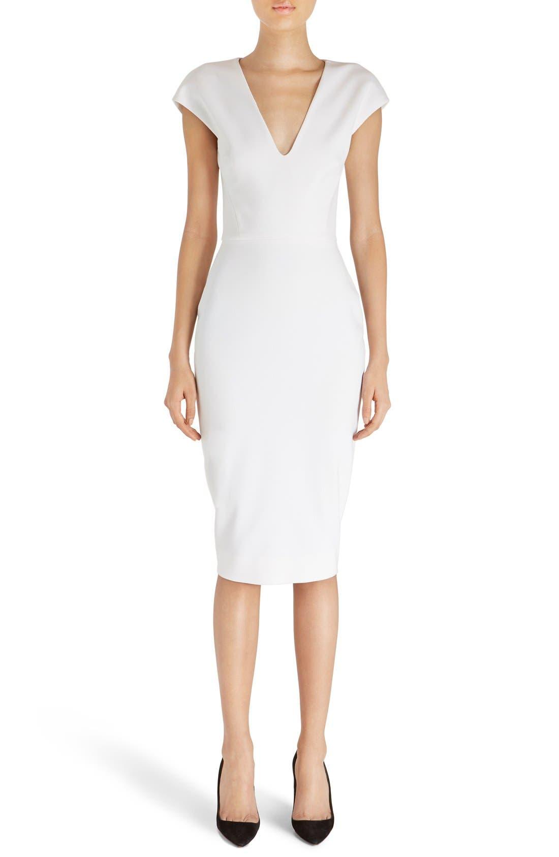 Main Image - Victoria Beckham Cap Sleeve Cotton Blend Sheath Dress