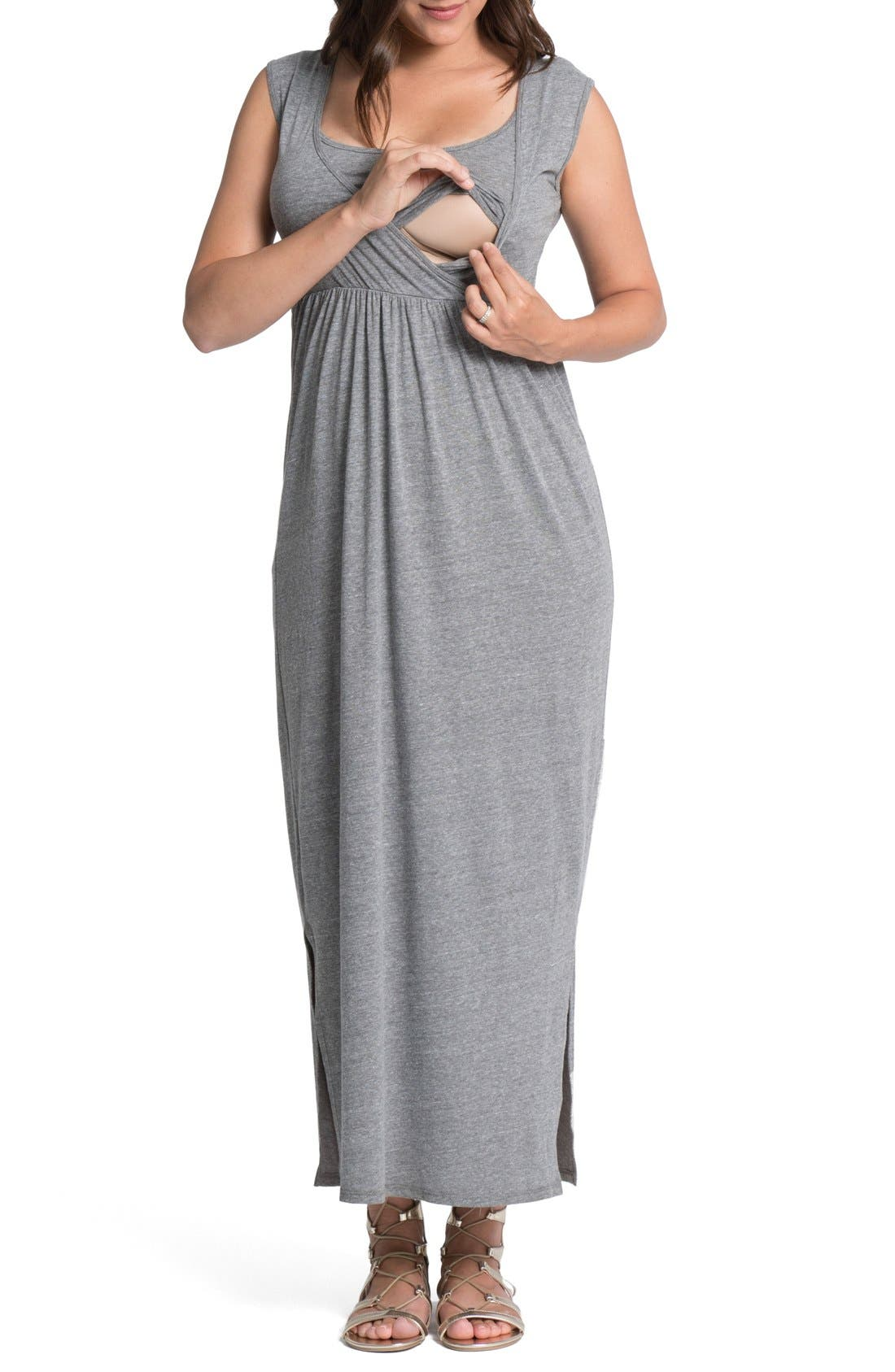 Alternate Image 2  - Bun Maternity Cross Top Maternity/Nursing Maxi Dress