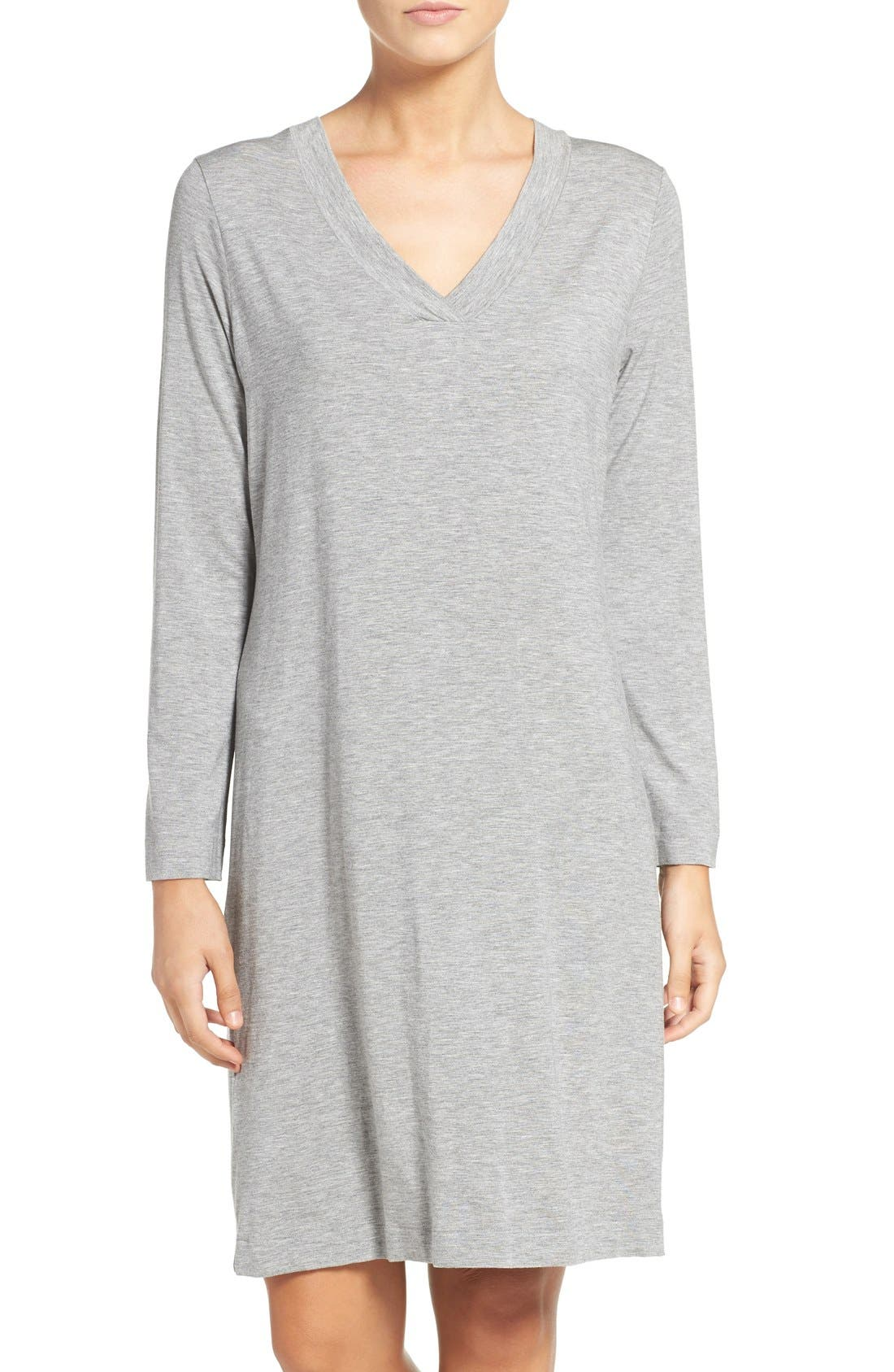Long Sleeve Knit Nightgown,                         Main,                         color, Grey Melange 958