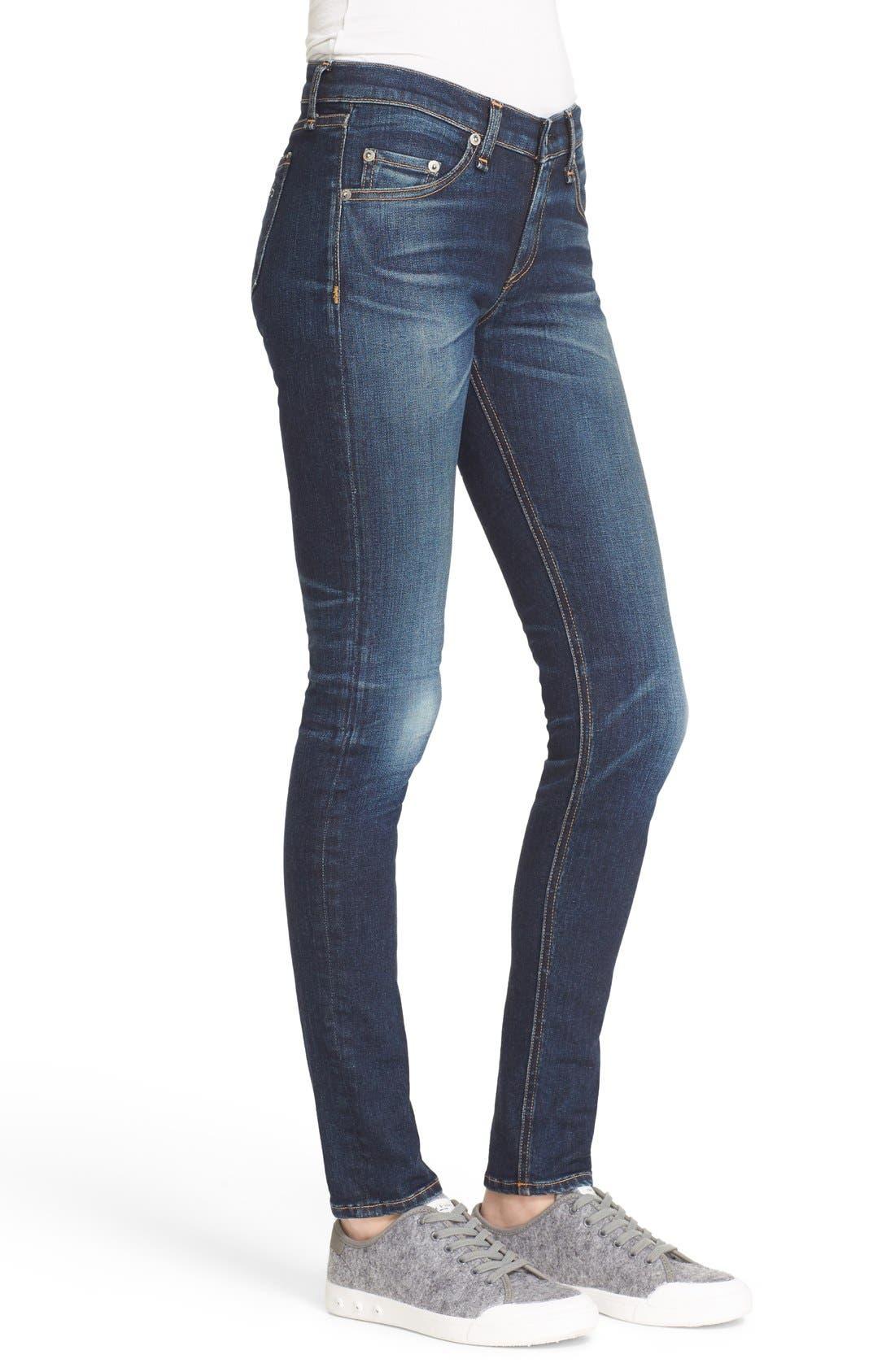 Alternate Image 3  - rag & bone/JEAN Embroidered Skinny Jeans (Baker)