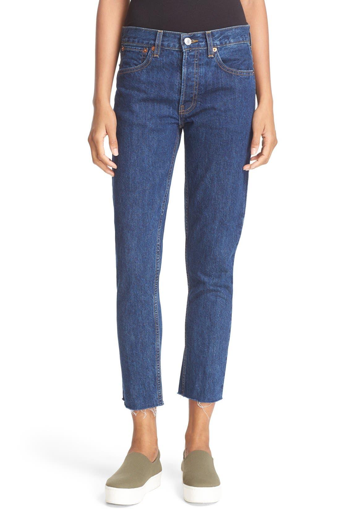Originals High Waist Crop Jeans,                         Main,                         color, Dark