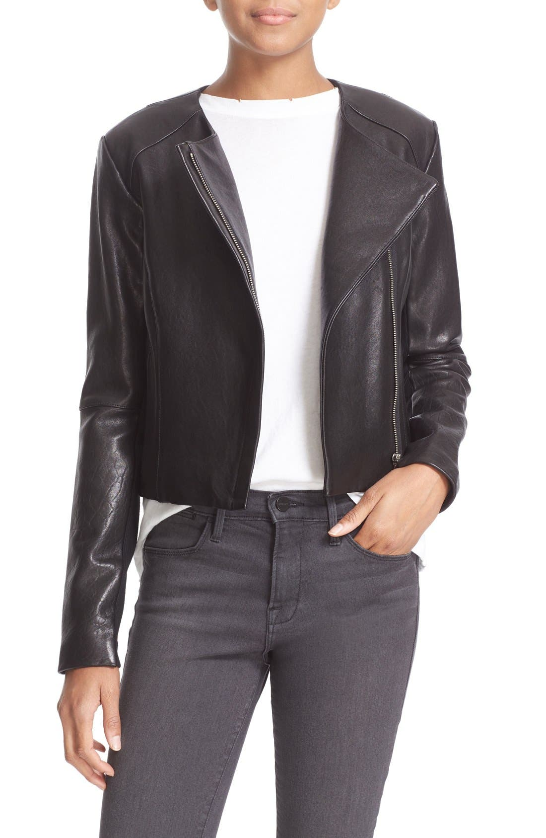 'Dali' Lambskin Leather Jacket,                             Main thumbnail 1, color,                             Black