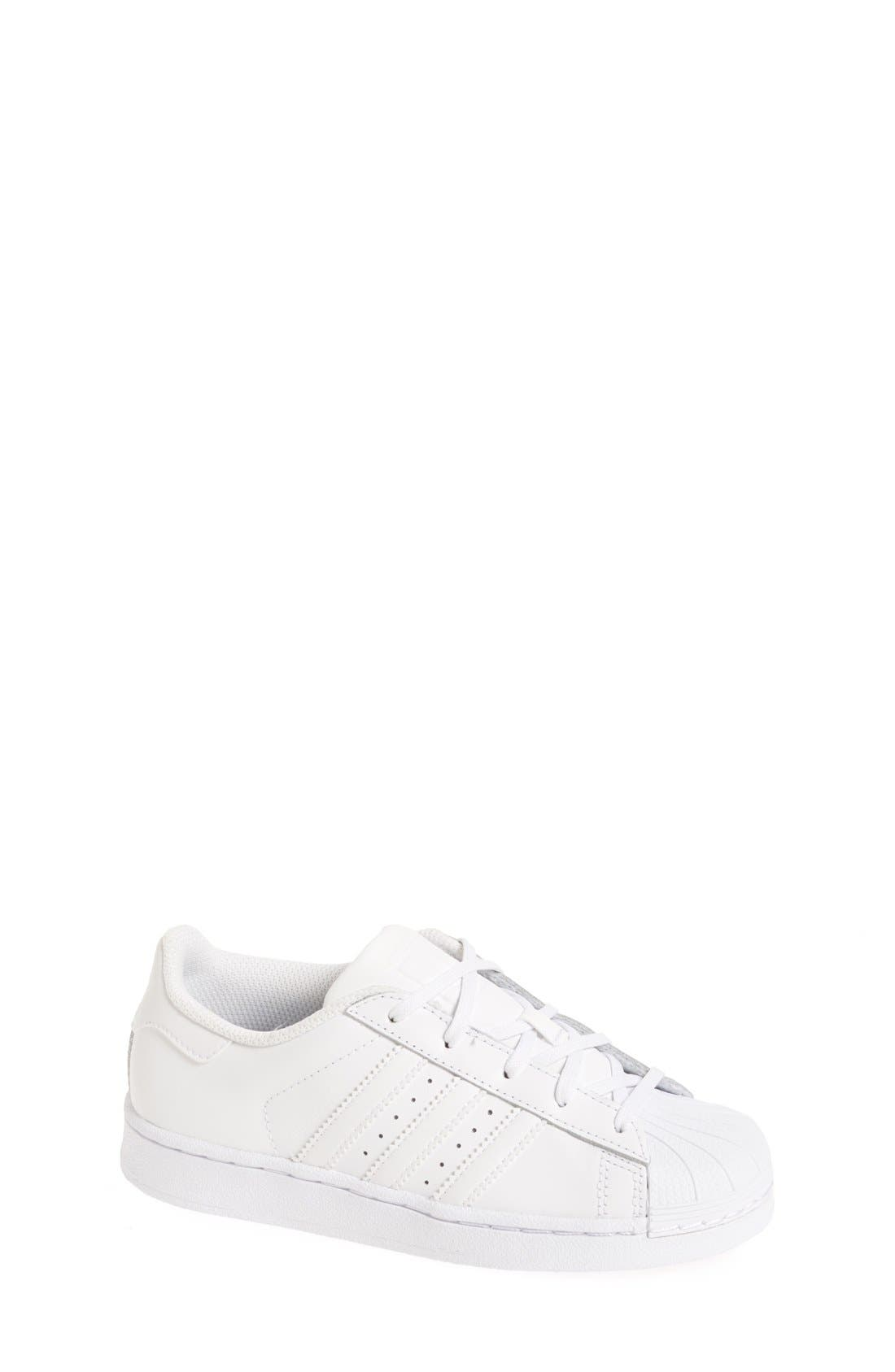 'Superstar Foundation' Sneaker,                             Main thumbnail 1, color,                             White/ White
