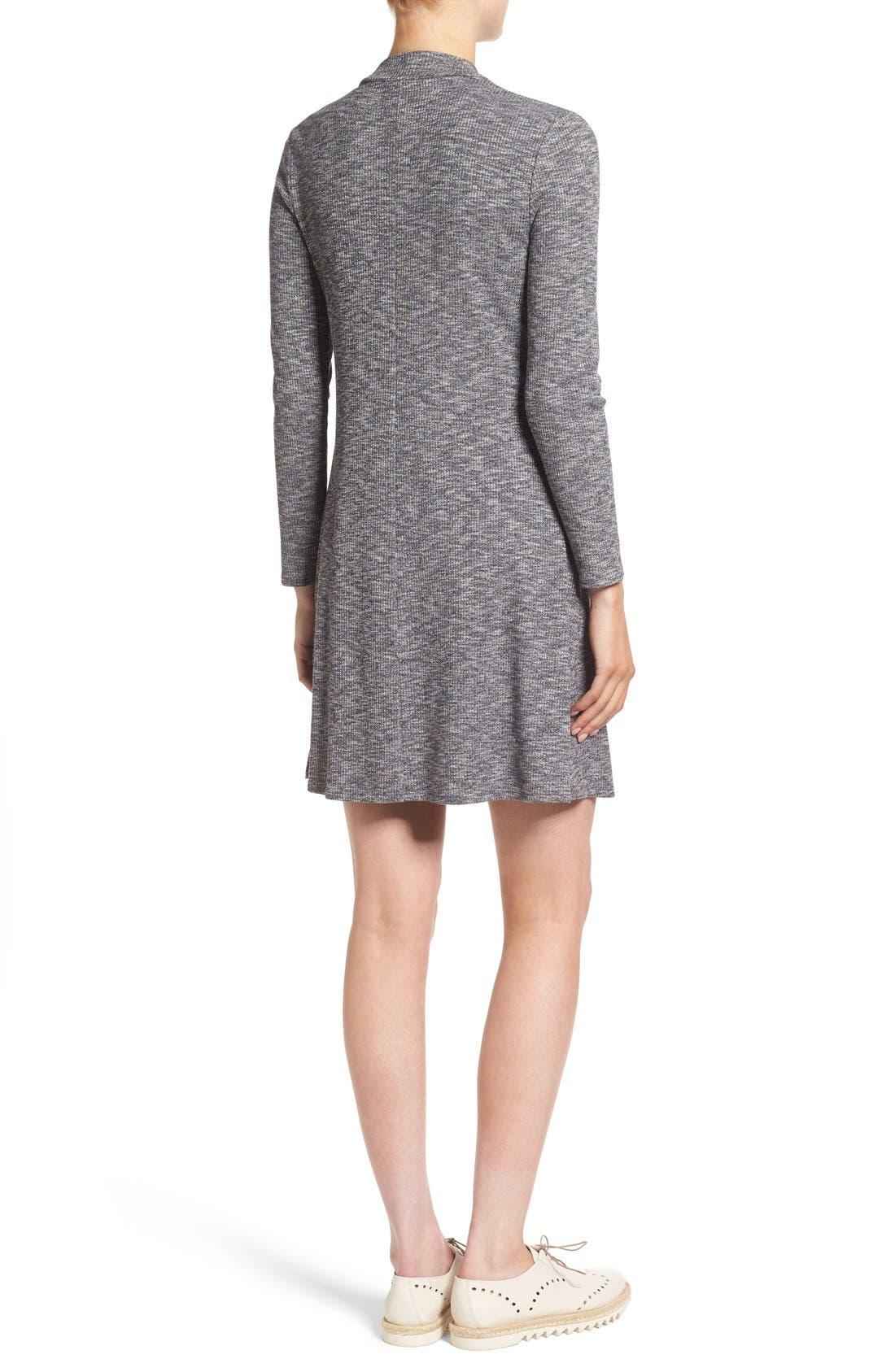Mock Neck Marled Knit Dress,                             Alternate thumbnail 2, color,                             Heather Gravel