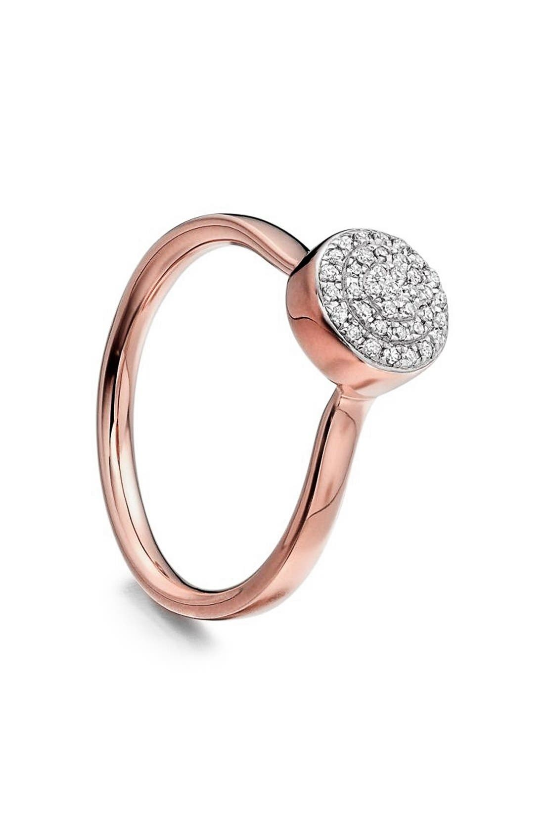 'Ava' Diamond Button Ring,                             Alternate thumbnail 3, color,                             Rose Gold