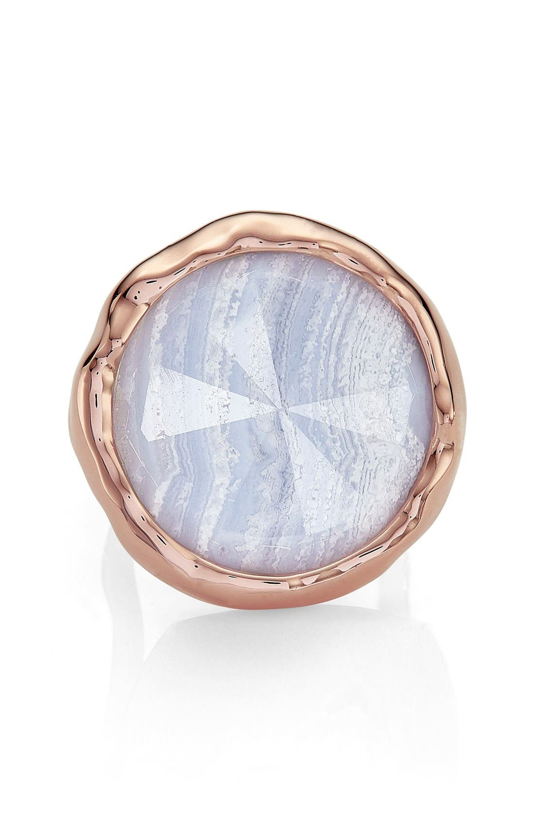 'Siren' Semiprecious Stone Ring,                             Alternate thumbnail 3, color,                             Blue Lace Agate/ Rose Gold