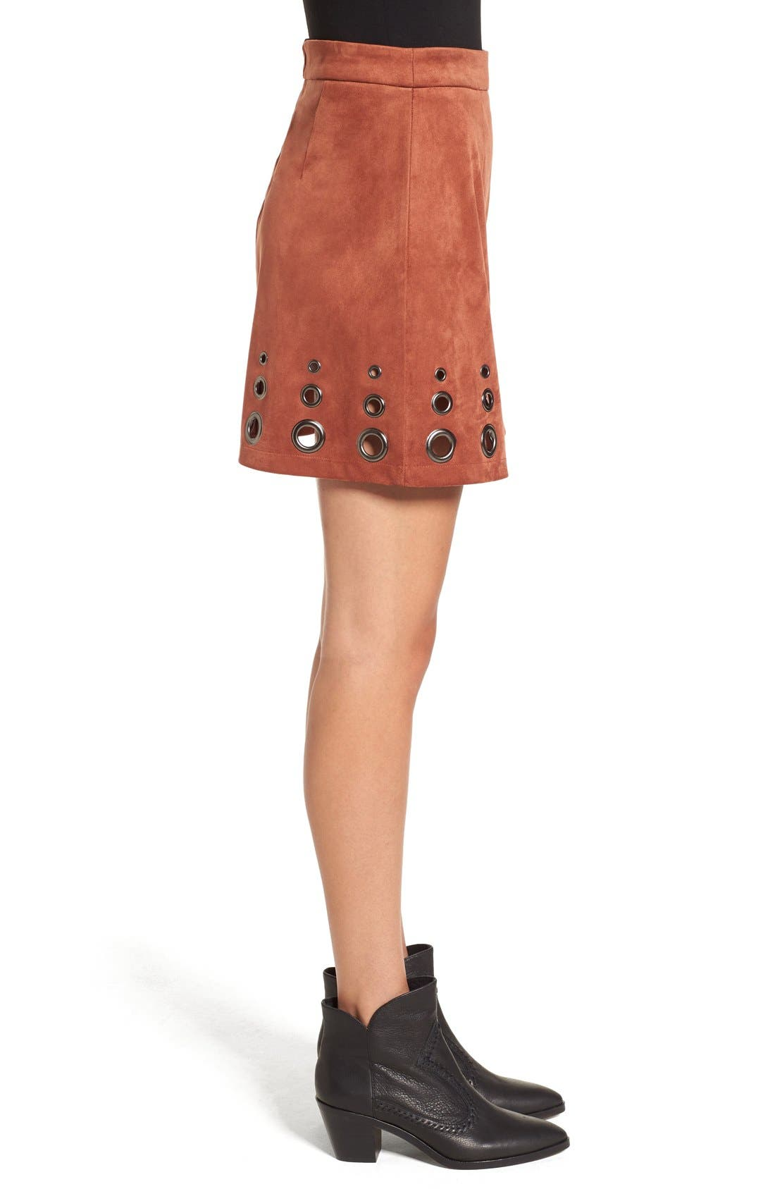 Alternate Image 3  - Glamorous Grommet Faux Suede A-Line Skirt