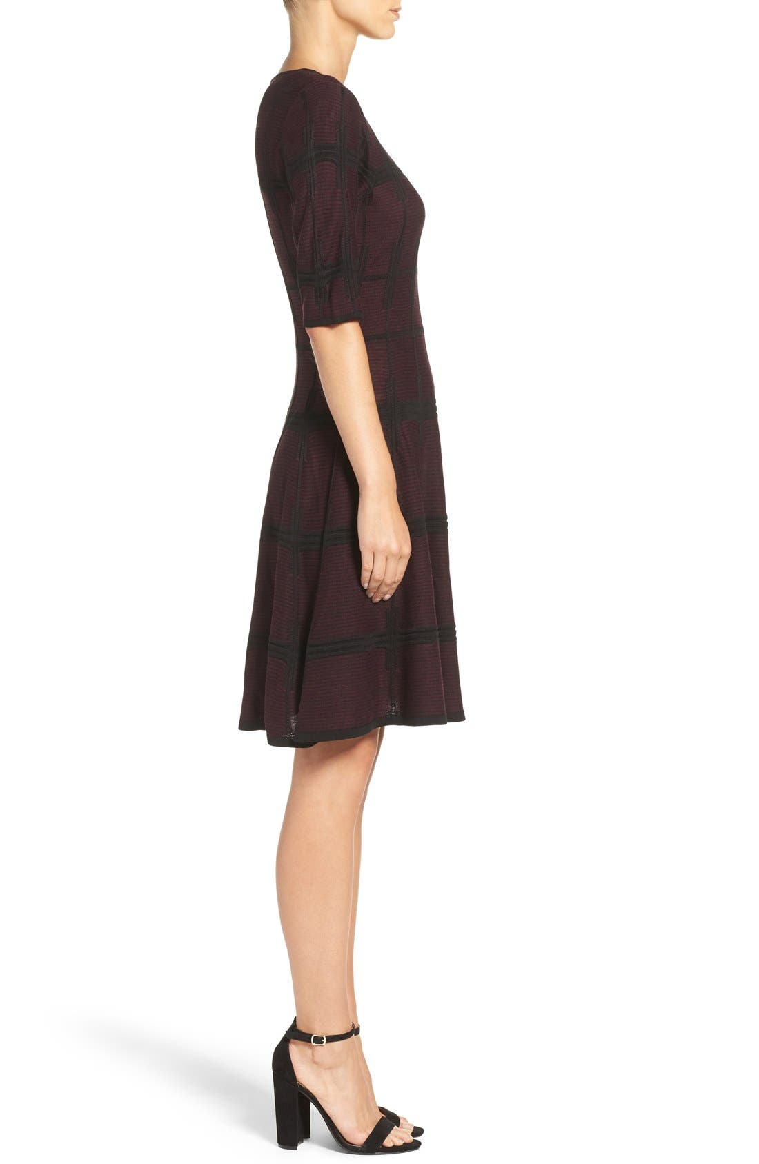 Alternate Image 3  - Ivanka Trump Plaid Sweater Knit Fit & Flare Dress