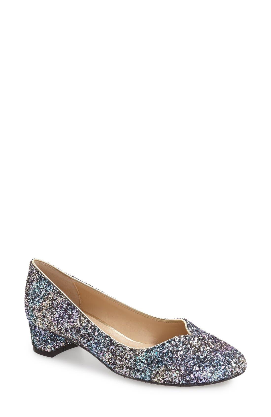 'Bambalina' Block Heel Glitter Pump,                             Main thumbnail 1, color,                             Blue/ Gold Glitter Fabric
