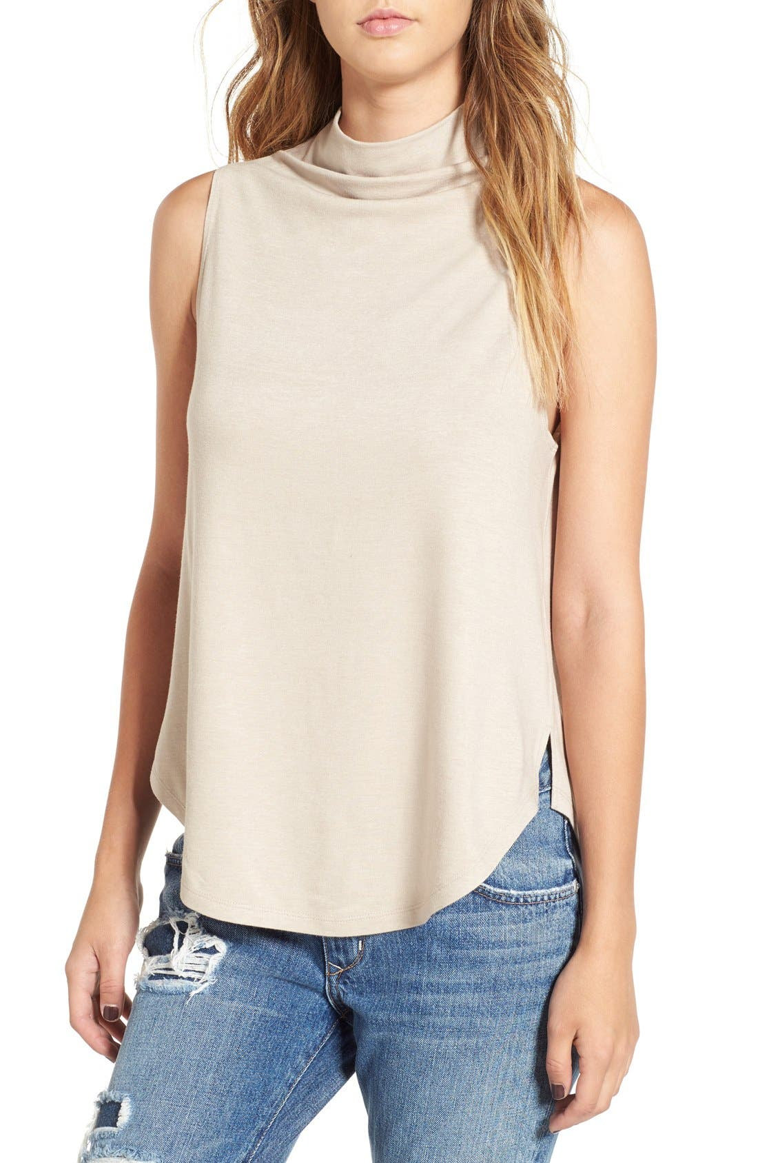 Funnel Neck Tank,                         Main,                         color, Beige Oatmeal