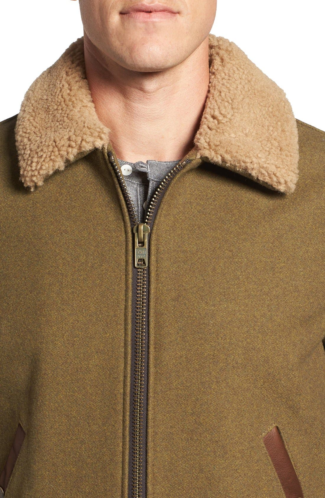 Alternate Image 4  - Schott NYC Mixed Media B-15 Flight Jacket with Genuine Shearling Collar