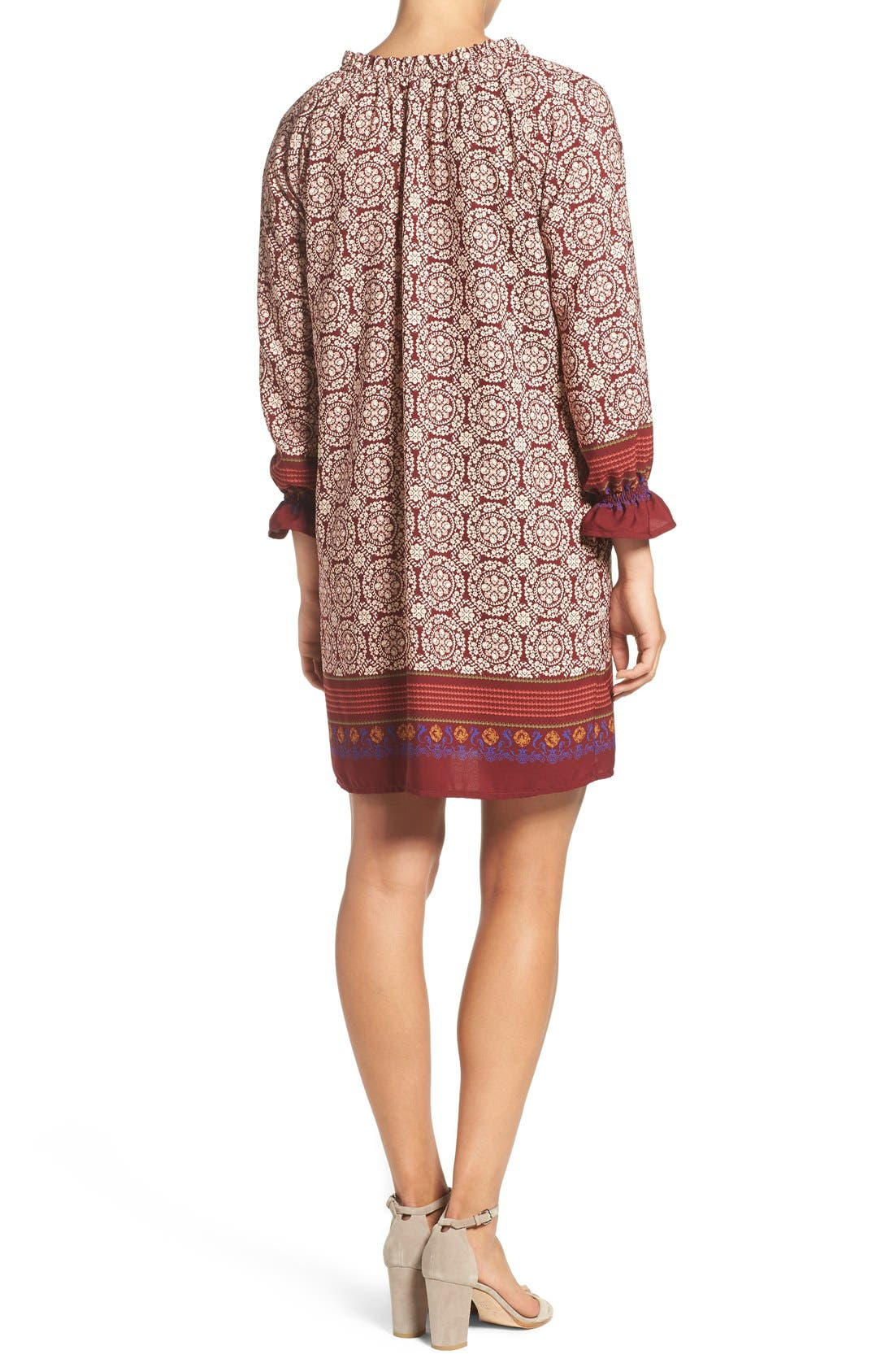 'Nora' Print Woven Shift Dress,                             Alternate thumbnail 2, color,                             Nora Wine