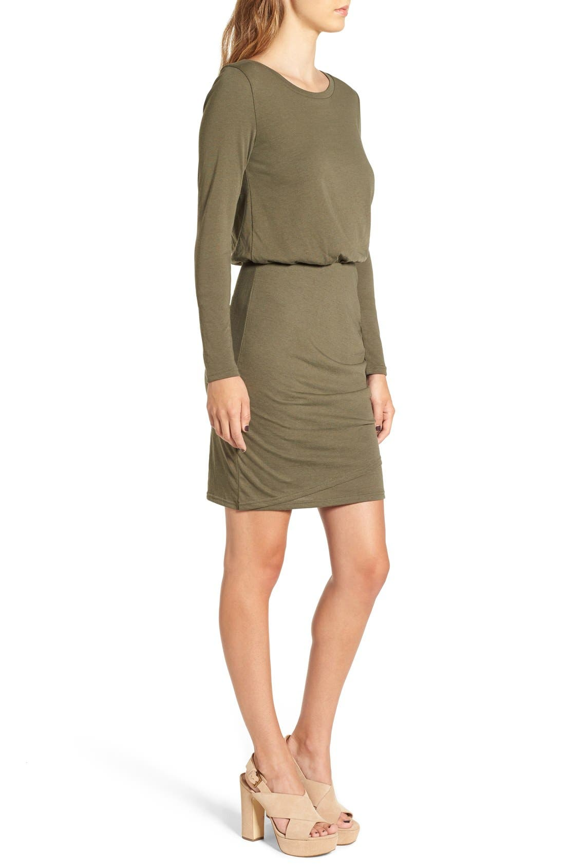Blouson Body-Con Dress,                             Alternate thumbnail 3, color,                             Olive Sarma