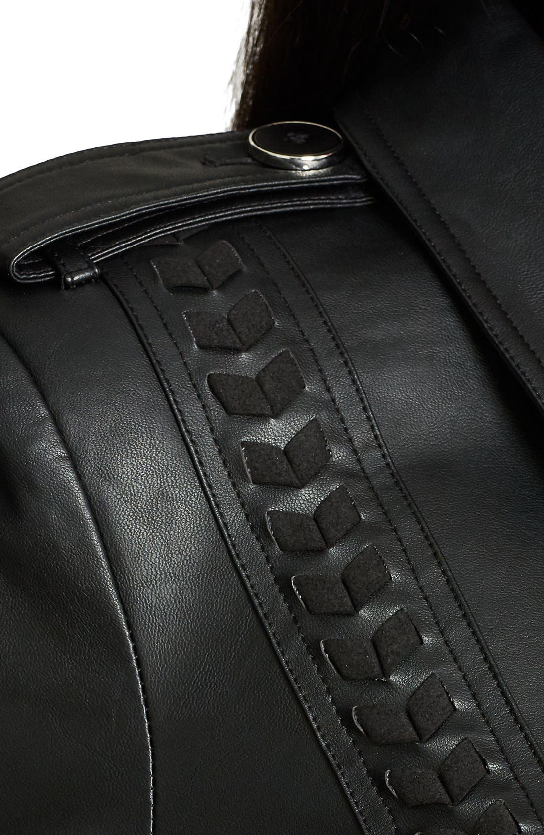 Alternate Image 4  - City Chic 'Vinyl Weave' Braid Detail Faux Leather Trench Coat (Plus Size)