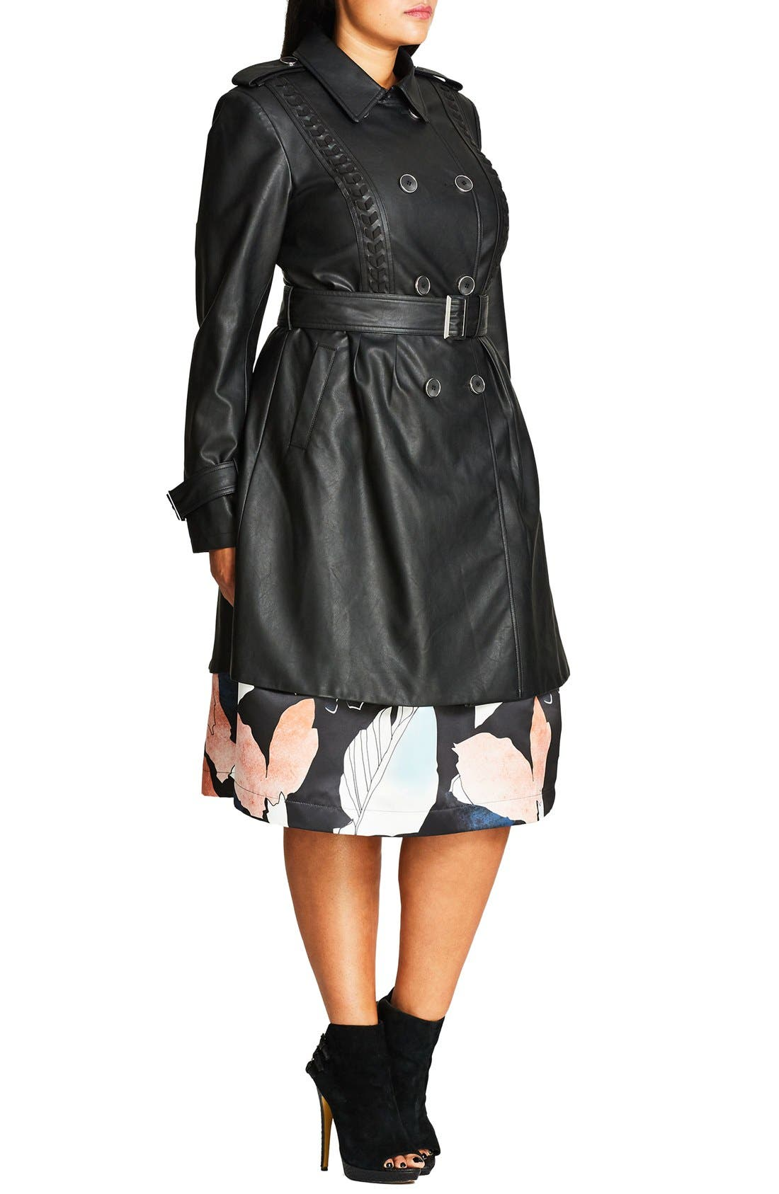 Alternate Image 3  - City Chic 'Vinyl Weave' Braid Detail Faux Leather Trench Coat (Plus Size)