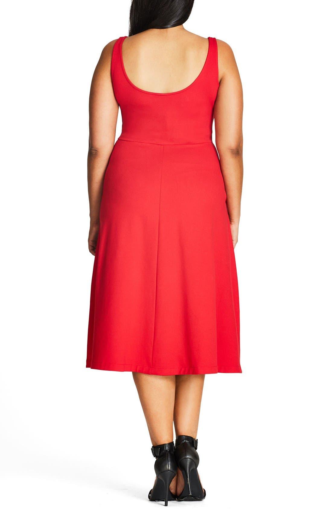 Alternate Image 2  - City Chic Classic Longline Scoop Neck Midi Dress (Plus Size)