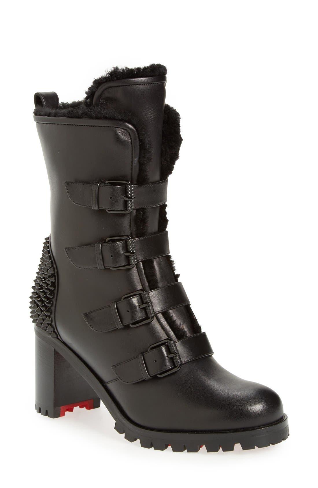 'Glorymount' Studded Buckle Boot,                             Main thumbnail 1, color,                             Black Leather