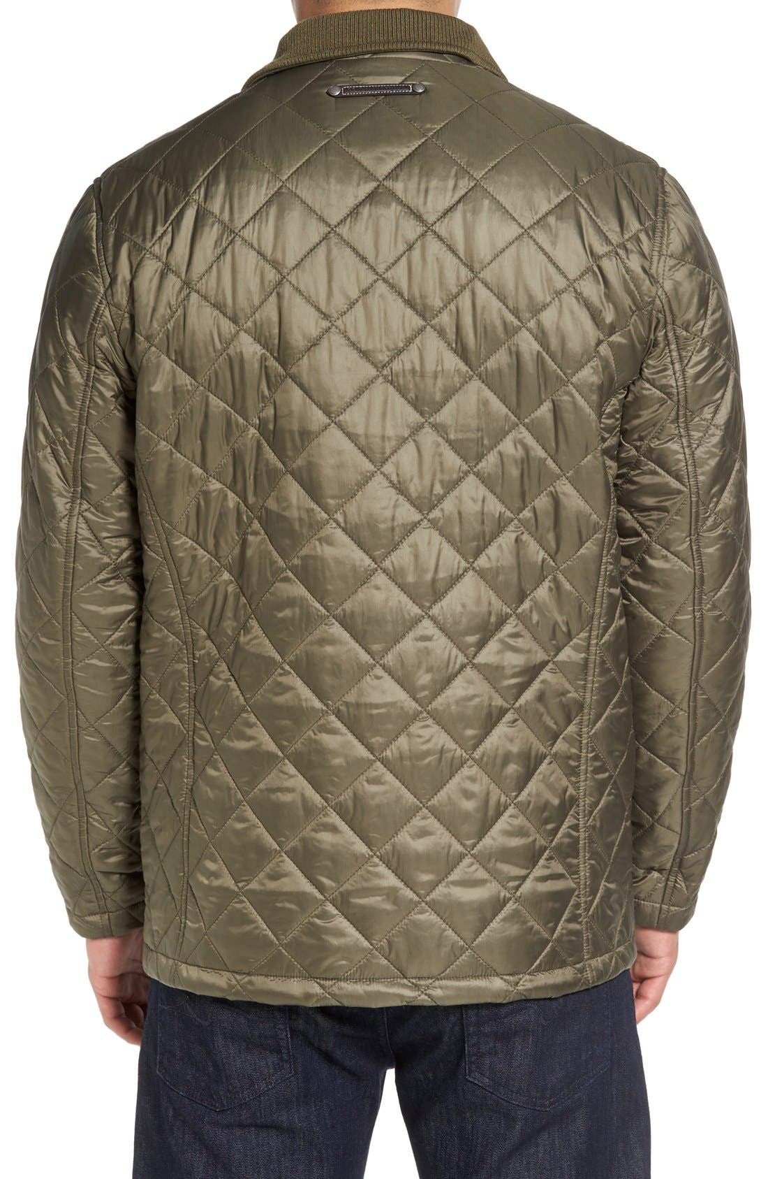 Diamond Quilted Jacket,                             Alternate thumbnail 8, color,                             Olive