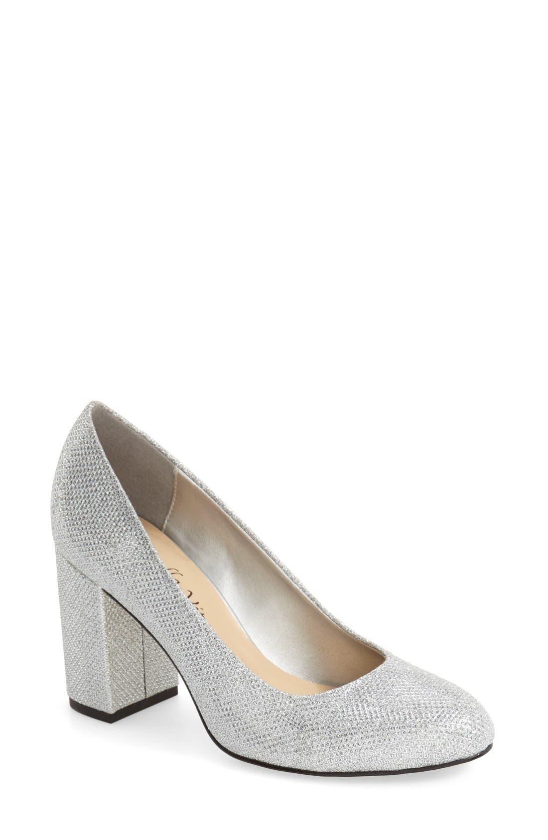 'Nara' Block Heel Pump,                             Main thumbnail 1, color,                             Silver Glitter