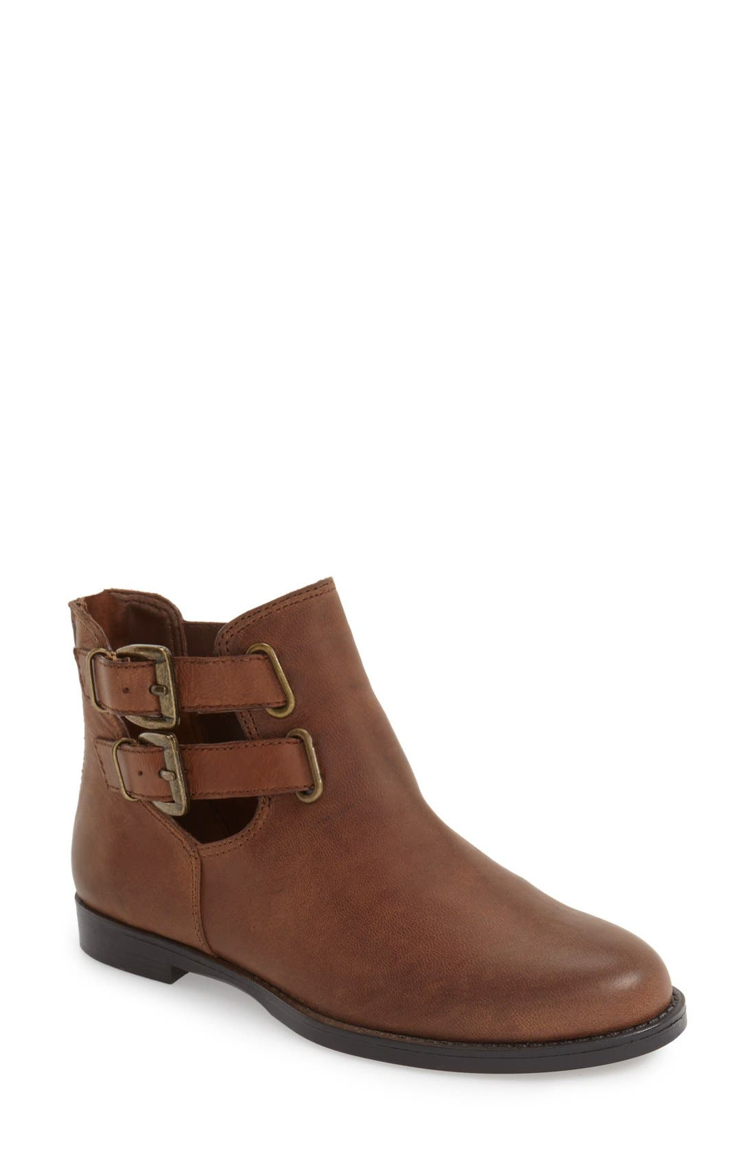 'Ramona' Double Buckle Bootie,                             Main thumbnail 1, color,                             Camel Leather