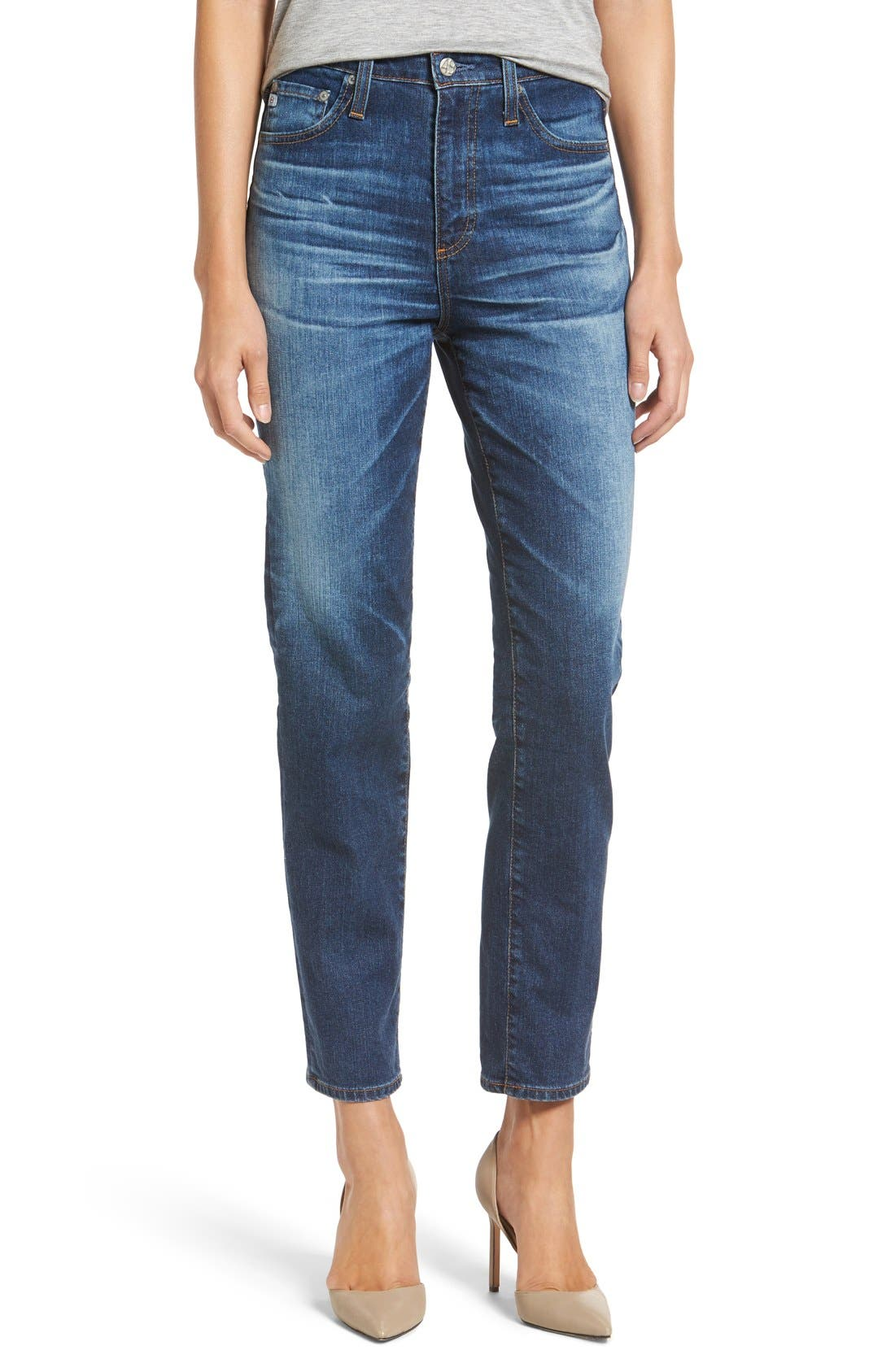 'The Phoebe' Vintage High Rise Straight Leg Jeans,                             Main thumbnail 1, color,                             10Y Wick