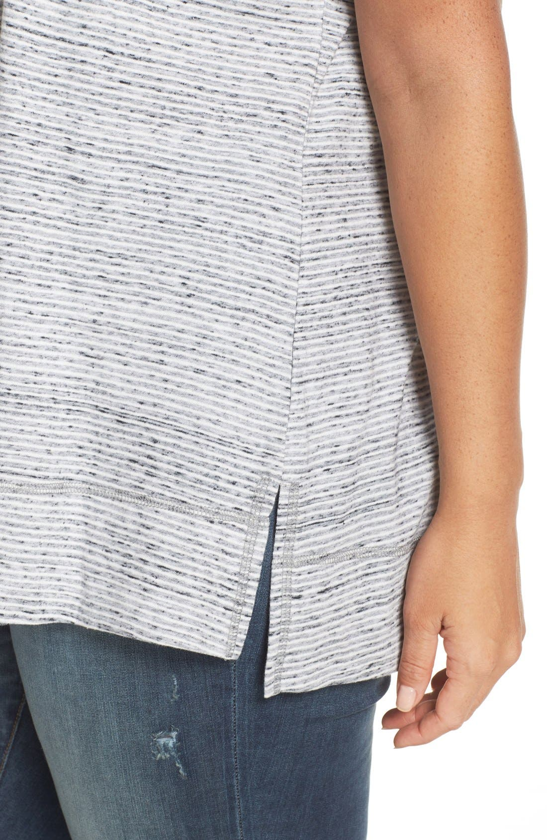 Stripe Short Sleeve Tee,                             Alternate thumbnail 4, color,                             Ivory- Black Pattern
