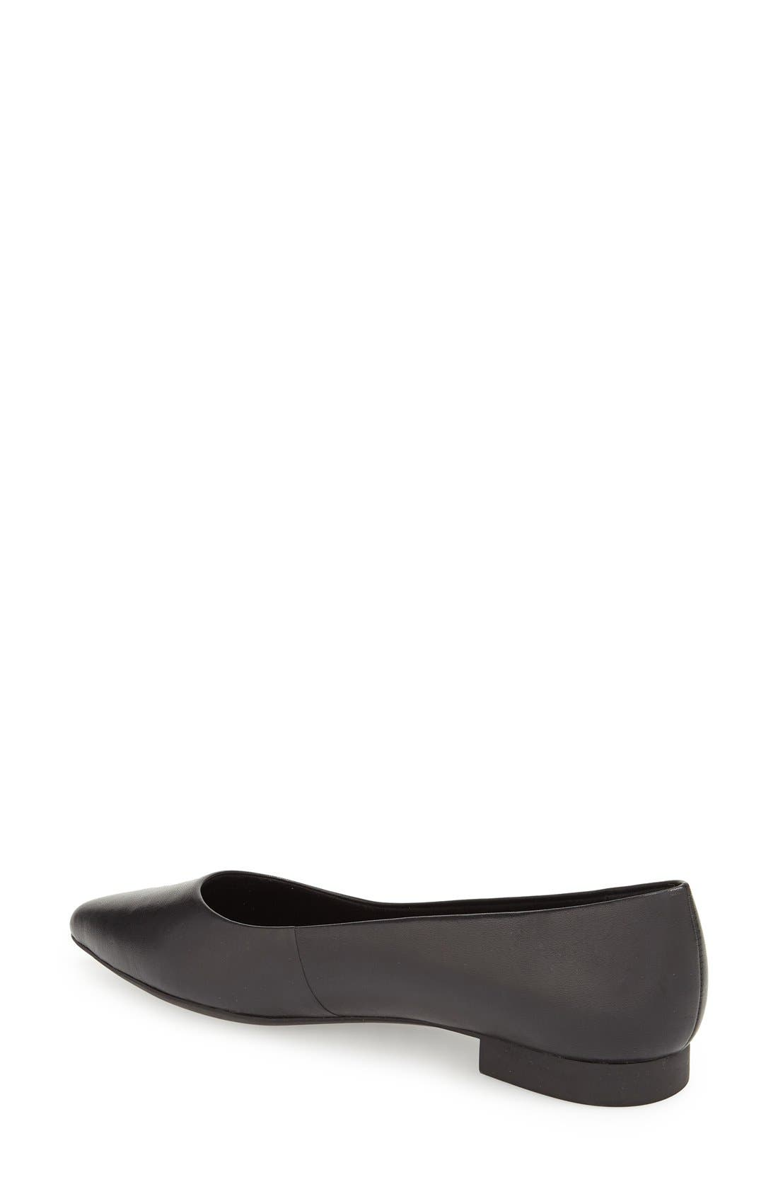 'Vivien' Pointy Toe Flat,                             Alternate thumbnail 2, color,                             Black Leather