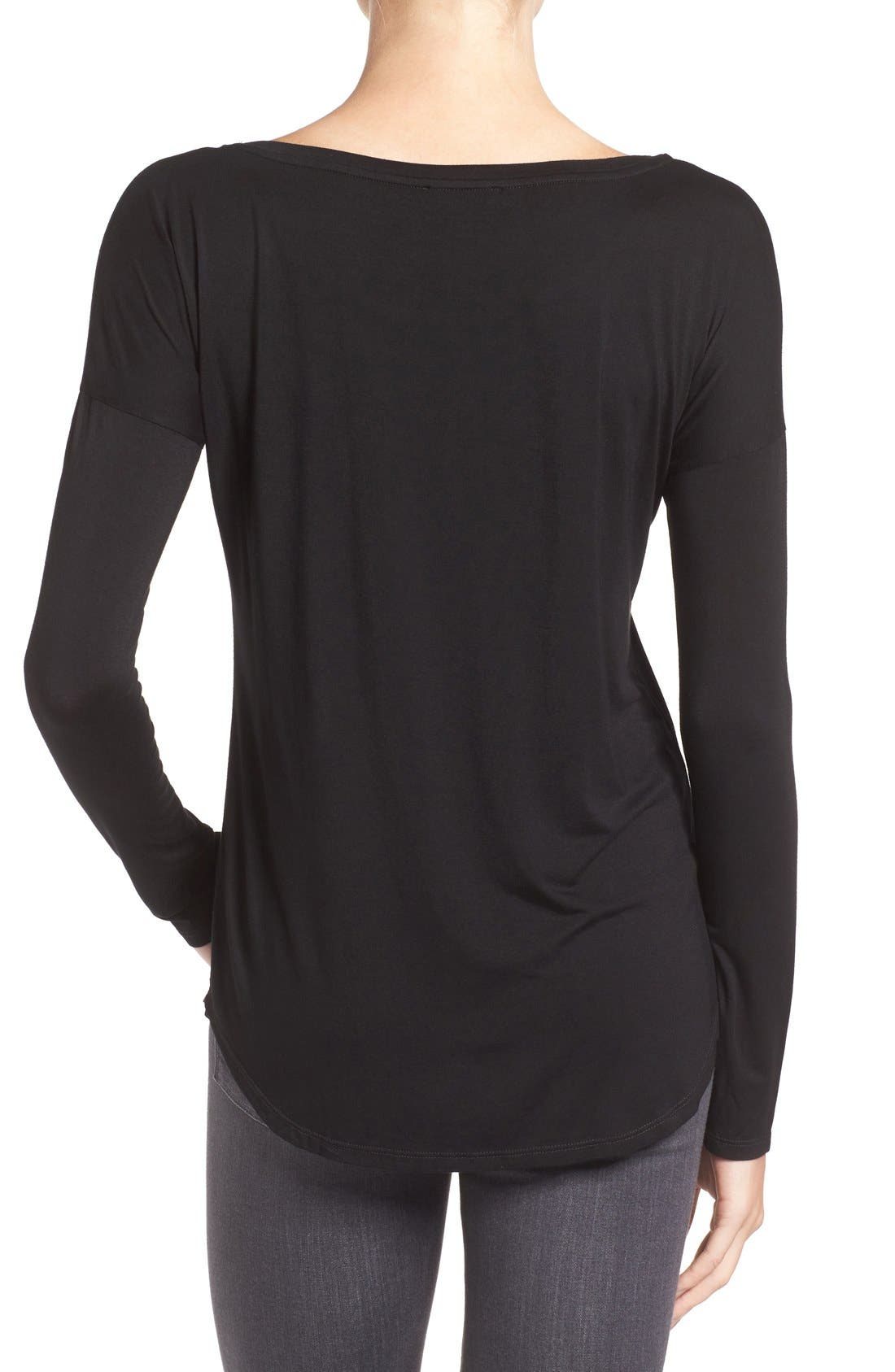'Bess' Stretch Jersey Boatneck Tee,                             Alternate thumbnail 2, color,                             Black