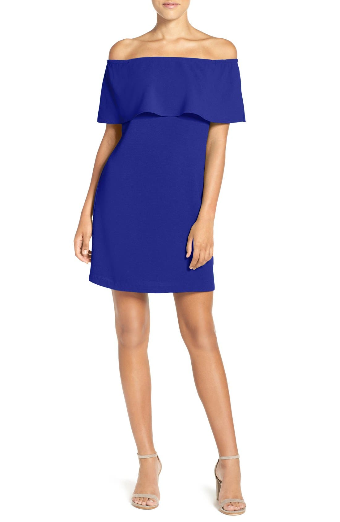 Alternate Image 1 Selected - Charles Henry Off the Shoulder Dress (Regular & Petite)