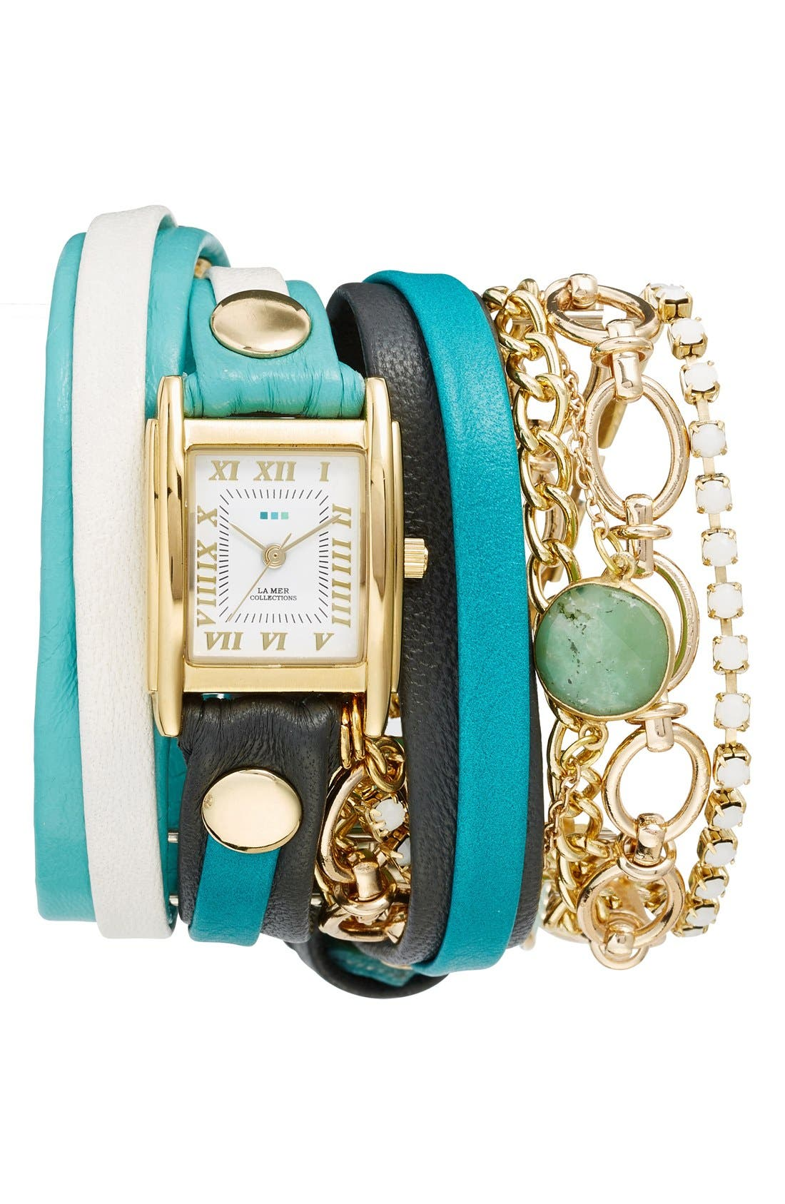 Leather & Chain Wrap Bracelet Watch, 28mm,                         Main,                         color, Turquoise/ Gold