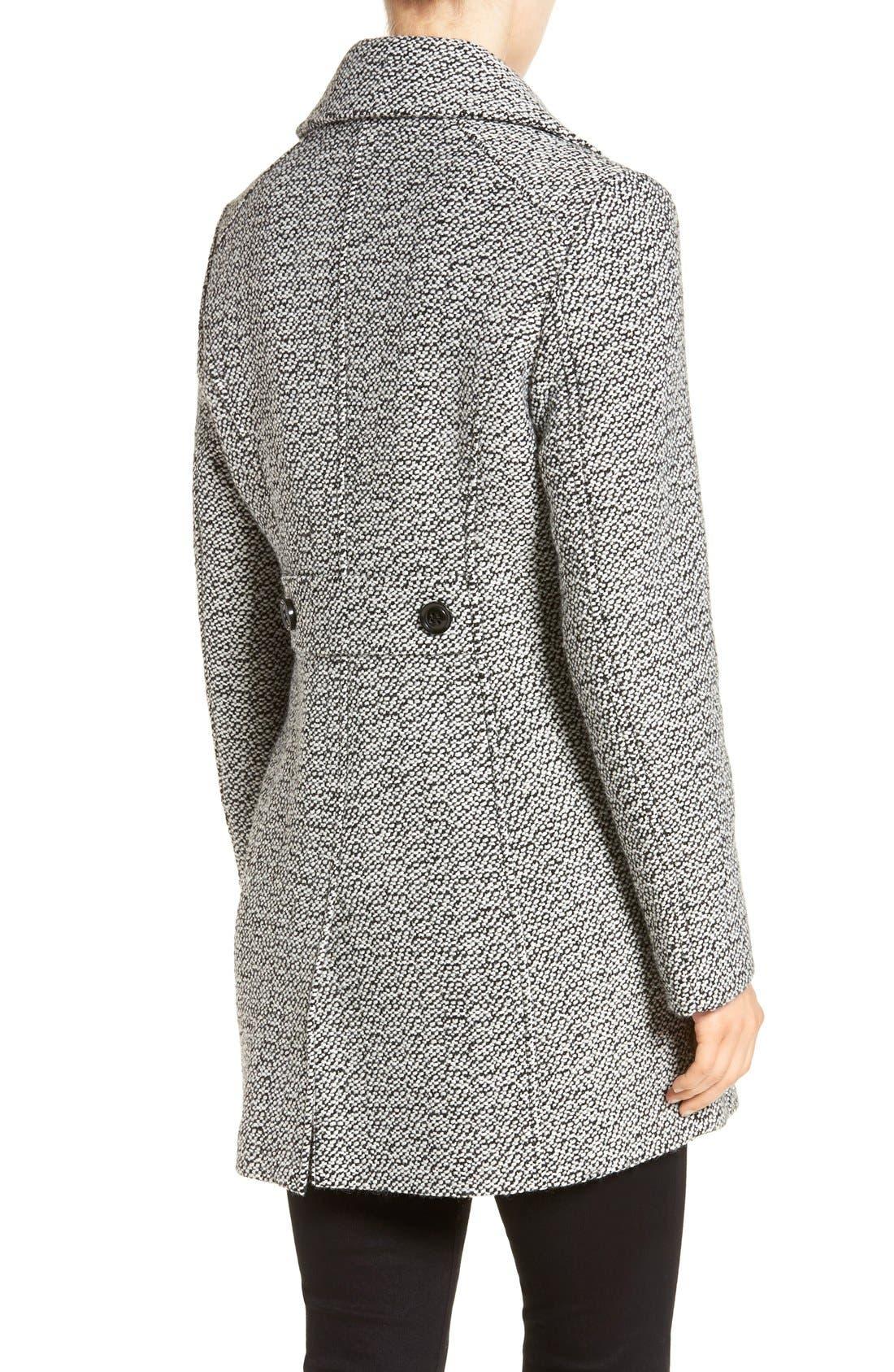 Notch Collar Tweed Coat,                             Alternate thumbnail 2, color,                             White/ Black