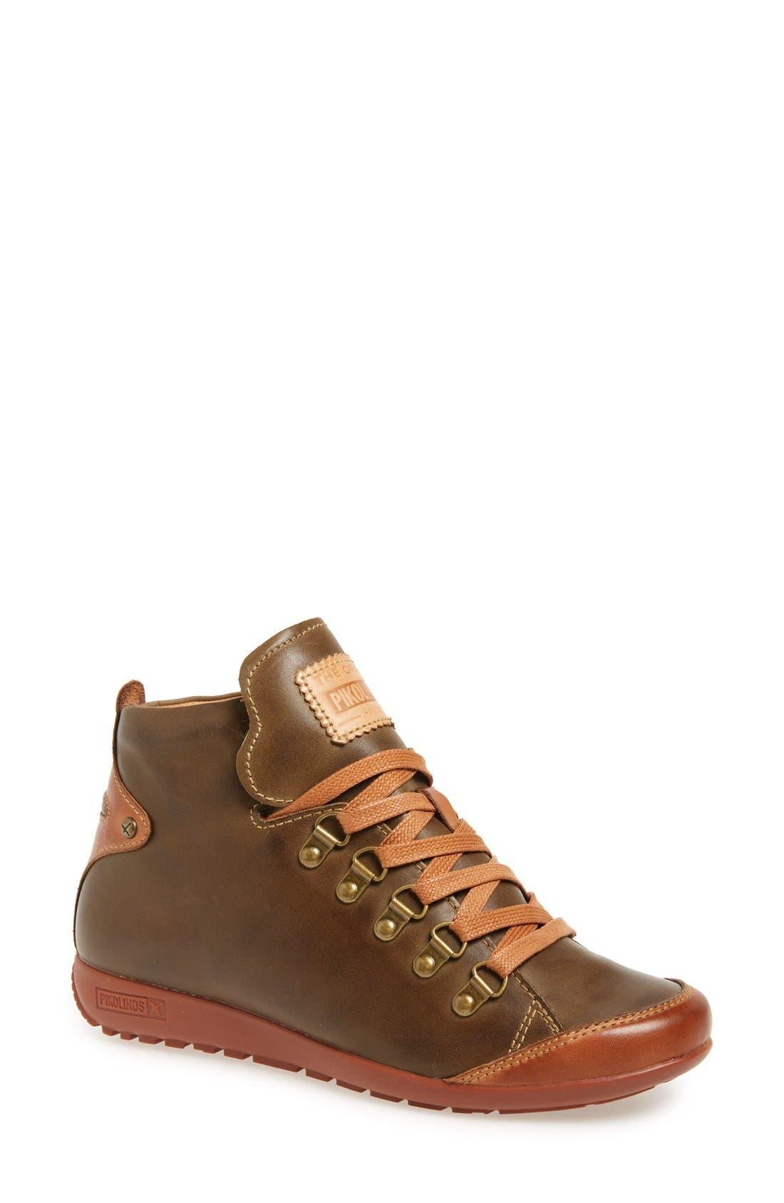Lisboa High Top Sneaker,                             Main thumbnail 1, color,                             Moss Leather