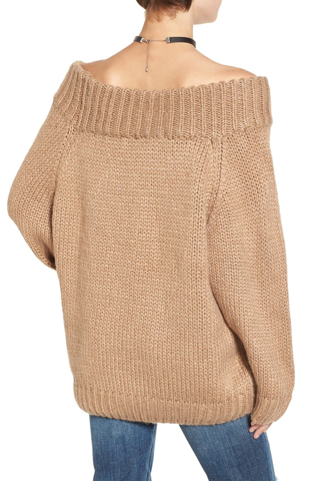 Alternate Image 3  - Cotton Emporium Off the Shoulder Knit Pullover