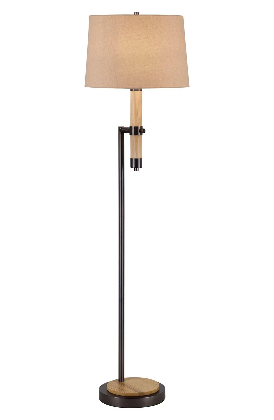 JAlexander Wood & Metal Floor Lamp,                         Main,                         color, Brown