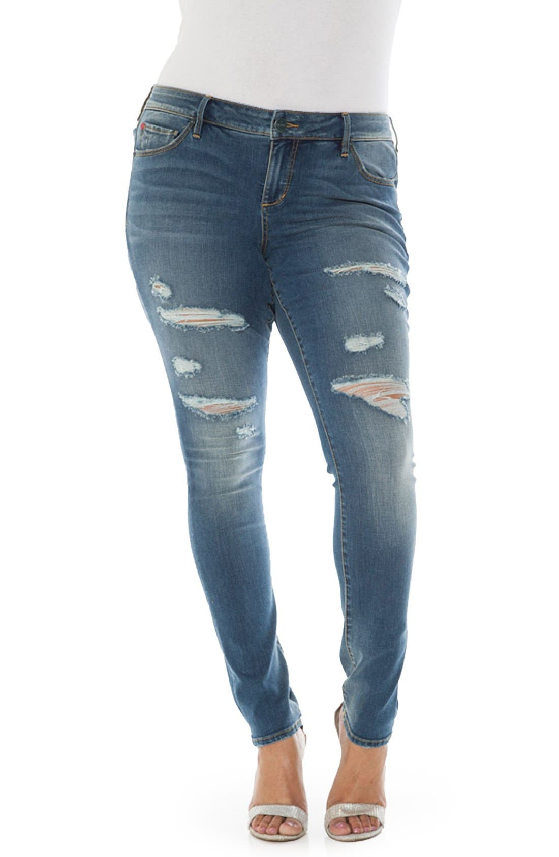 Alternate Image 1 Selected - SLINK Jeans Ripped Stretch Skinny Jeans (Plus Size)