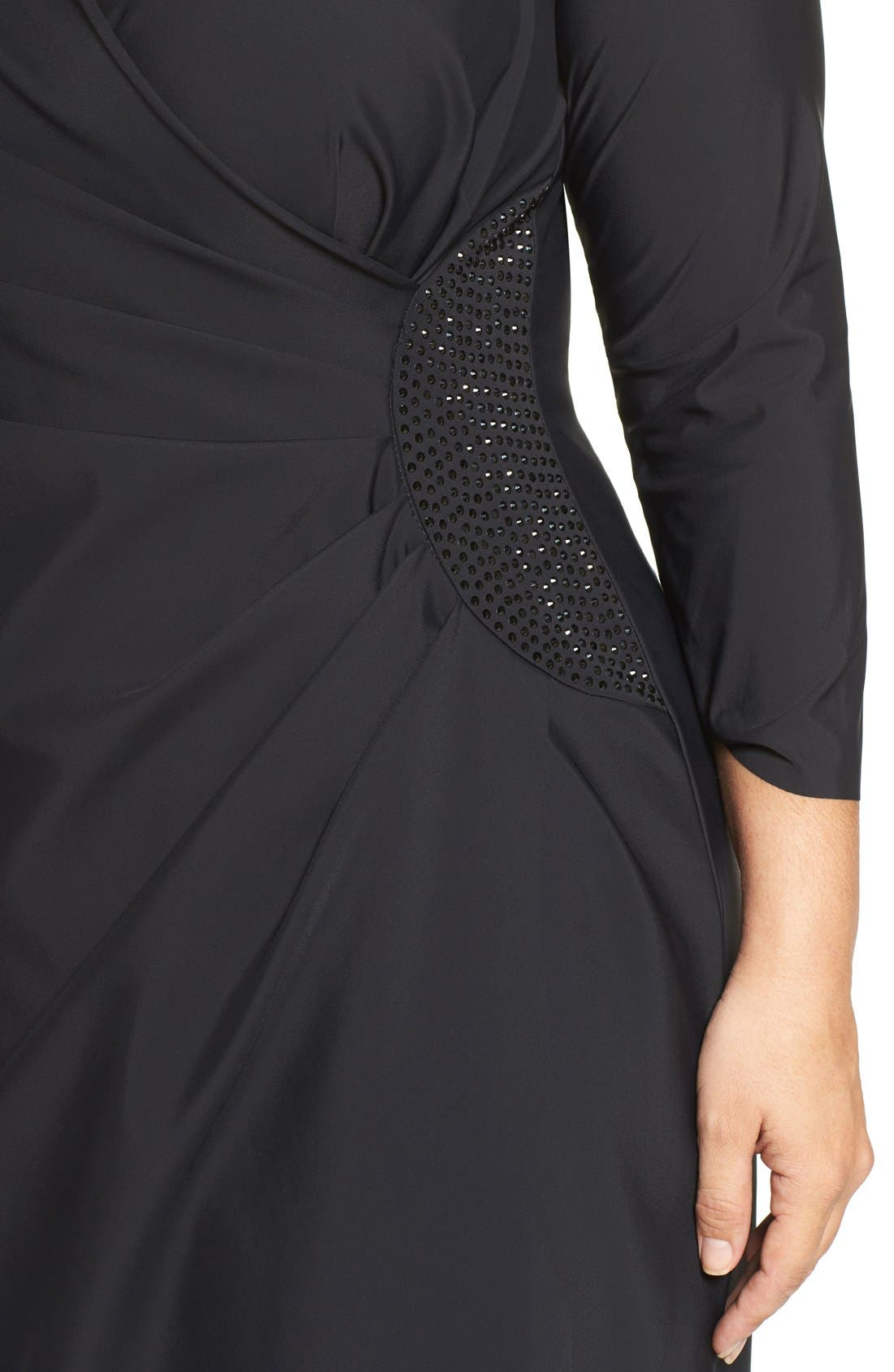 Alternate Image 5  - Alex Evenings Embellished Side Ruched Jersey Gown (Plus Size)