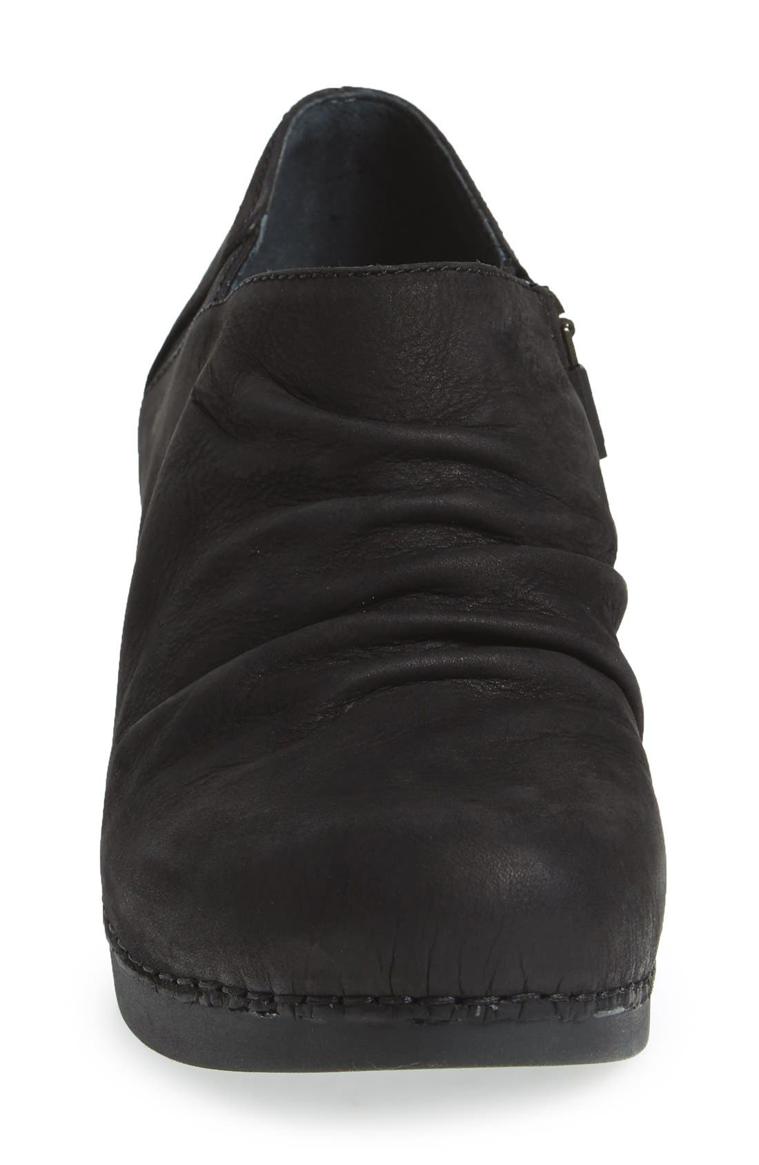 'Sheena' Slouchy Wedge Bootie,                             Alternate thumbnail 3, color,                             Black Nubuck Leather