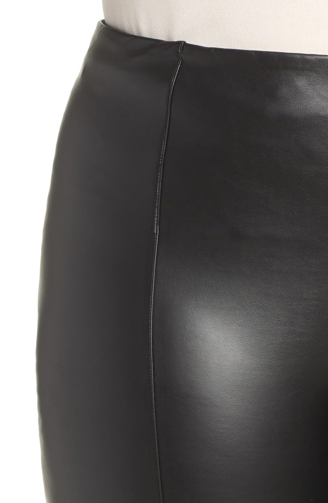 High Waist Faux Leather Leggings,                             Alternate thumbnail 4, color,                             Black
