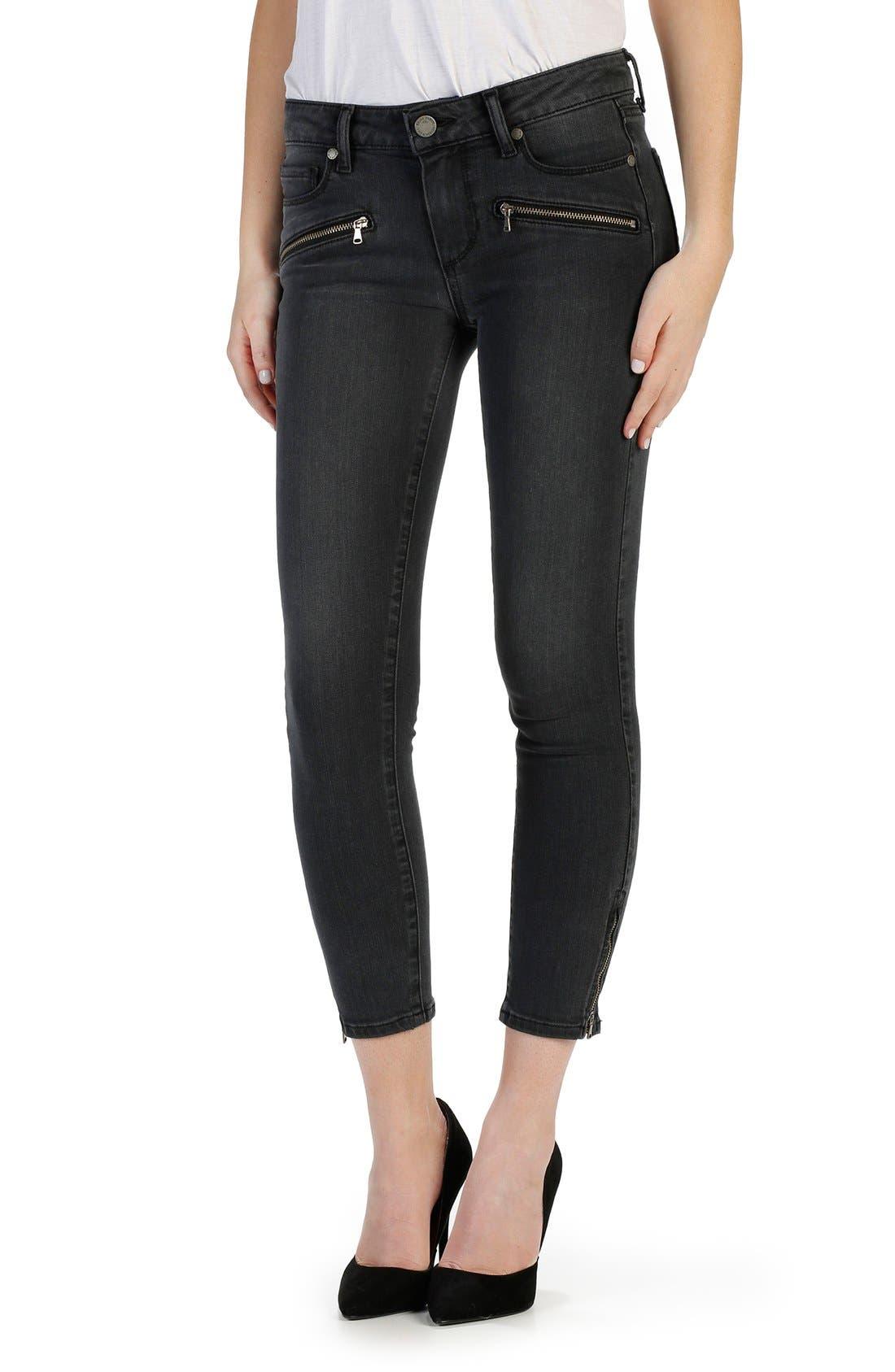 'Transcend - Jane' Zip Detail Crop Skinny Jeans,                             Main thumbnail 1, color,                             Smoke Grey