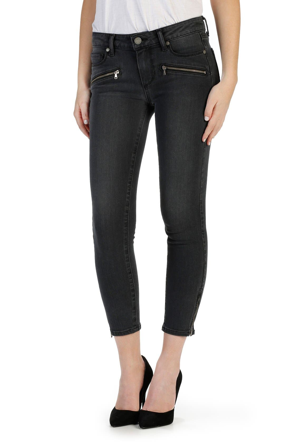 PAIGE 'Transcend - Jane' Zip Detail Crop Skinny Jeans (Smoke Grey)