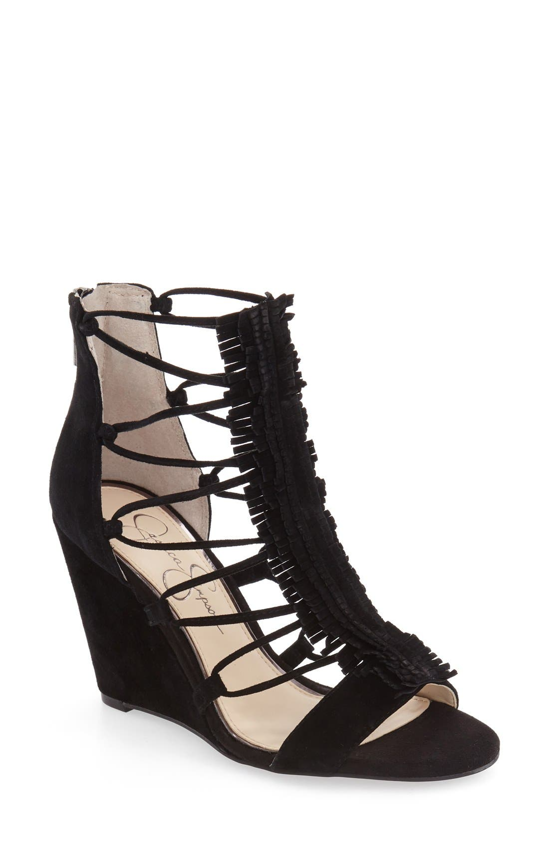 'Beccy' Wedge Sandal,                         Main,                         color, Black Suede