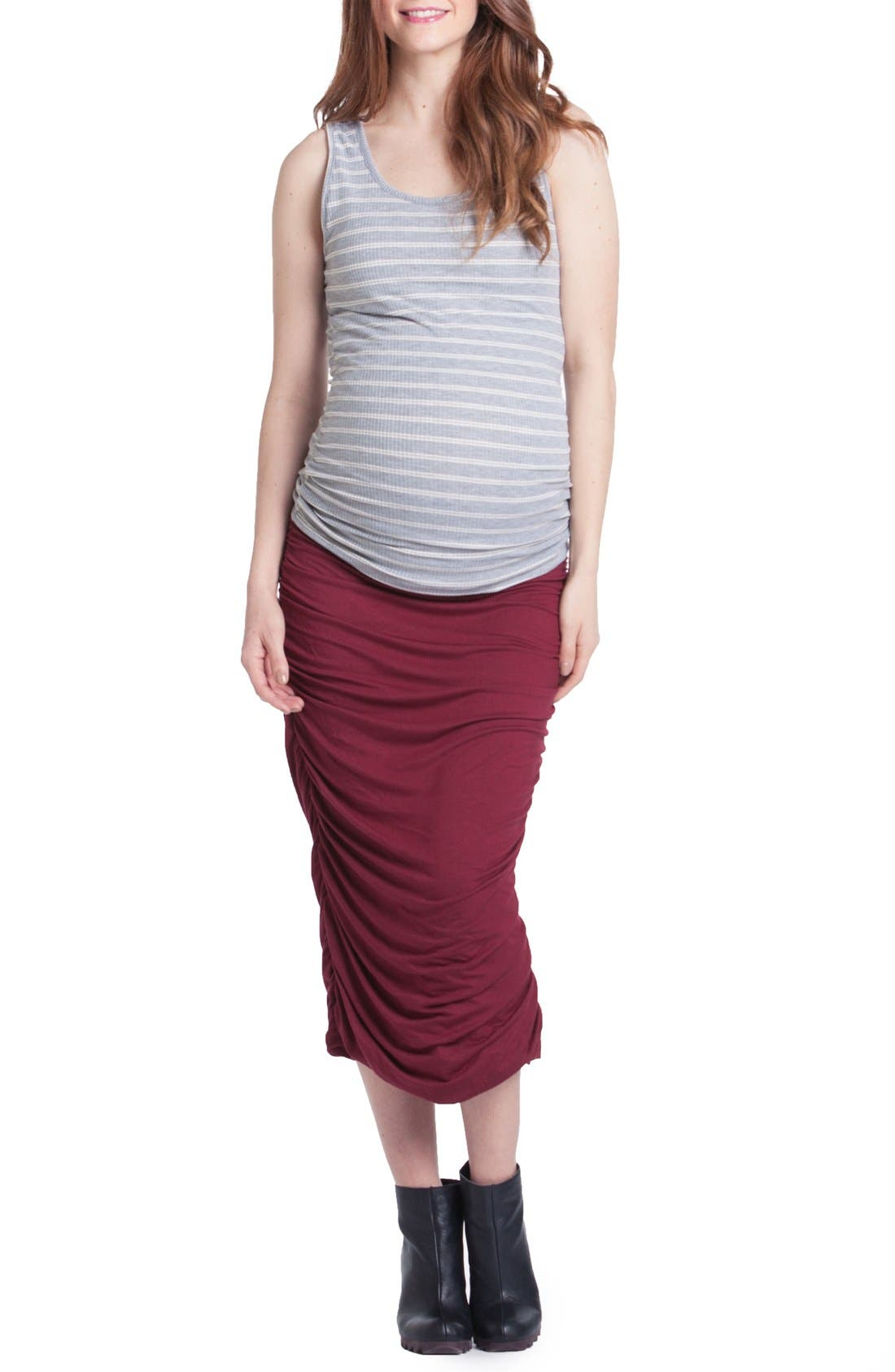 Ruched Maternity Tank,                             Main thumbnail 1, color,                             Grey/ Ivory Stripe