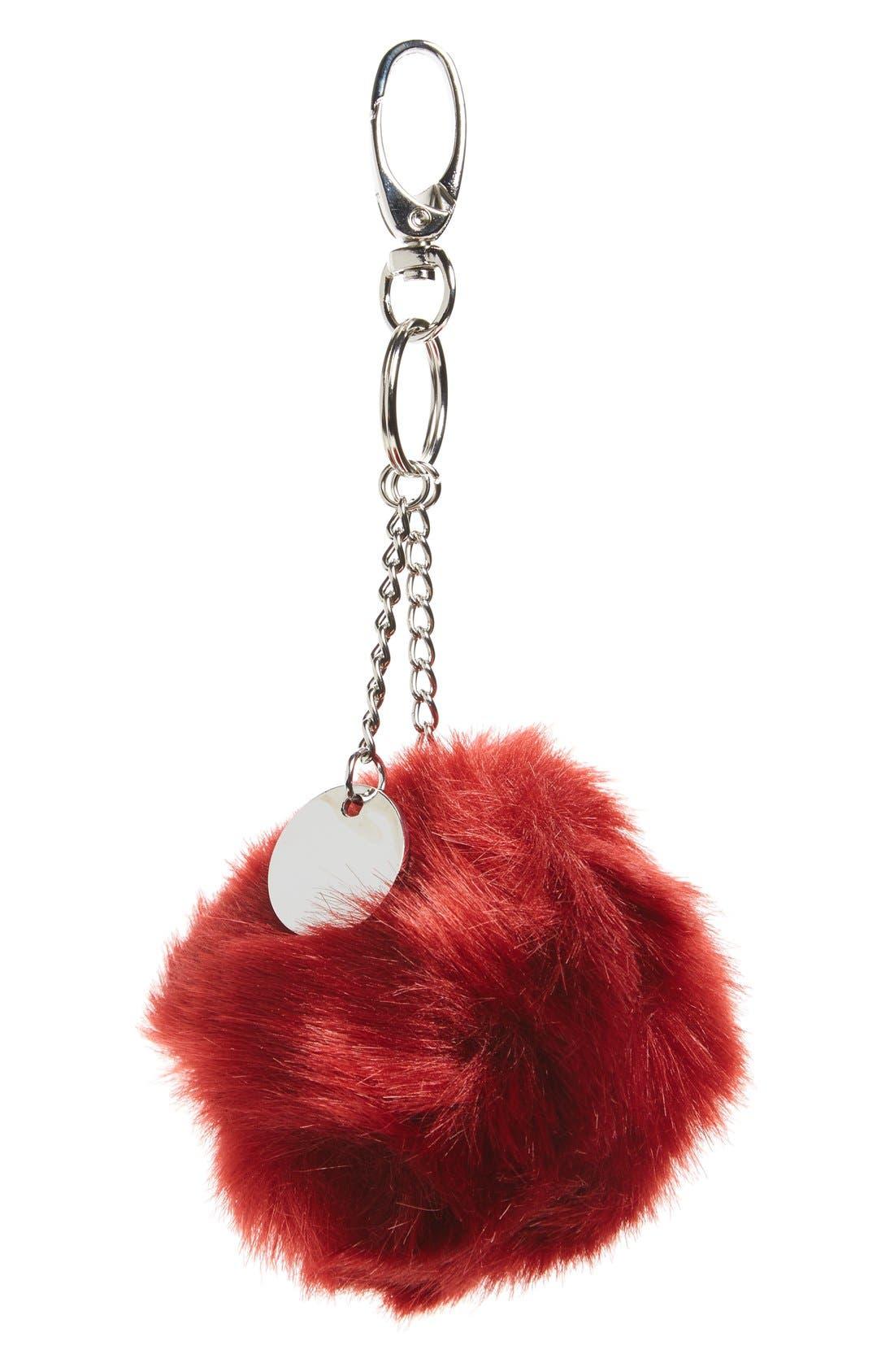 Main Image - Topshop Faux Fur Pompom Key Ring