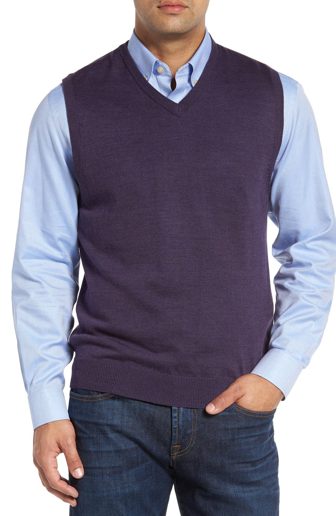 Alternate Image 1 Selected - Cutter & Buck 'Douglas' Merino Wool Blend V-Neck Sweater Vest (Online Only)